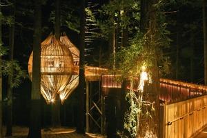 Der Zugang ist ein gleichwertiges Element des Gesamtkonzepts und daher in seiner Wegführung und Beleuchtung genauso durchdacht wie das Baumhaus selbst<br />