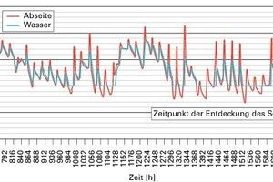 Bild11: Berechnete Temperaturen (Randbedingungen: Abseitenwand ungedämmt, Temperatur im Gebäude: 16 °C, Rohrdämmung durchnässt)<br />