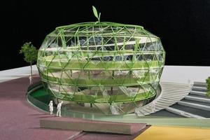 Der Entwurf erinnert an einen grünen Apfel. Hier ist Platz für fast 1000 Fahrräder