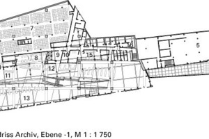 Grundriss Archiv, Ebene -1, M 1:1750<br />