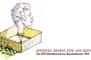 Einladungskarte zur Ausstellung: Ein Schinkelkopf als Heißluftballon ist bereit zum Abheben ... aus dem Schrein?!