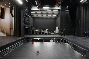 Querblick in den Bühnenraum mit dem in zwei Ebenen verstellbaren Bühnenboden
