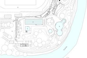 Grundriss Gesamtanlage, M 1:750<p>1Neugestalteter Vorbereich<br />2Eingangsgebäude<br />3Loungegebäude<br />4Schwimmerbecken<br />5Sprungbecken<br />6Nichtschwimmerbecken/ Attraktionen<br />7Kinderbecken und -bereich<br />8Sportgelände<br />9Bestands-Parkplatz</p>
