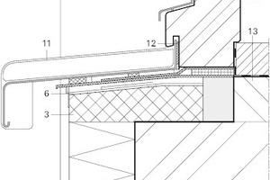 Abb. 4 (links): Fensteranschluss vertikal mit Alu-Fensterbank, Fenster eingerückt, zweite Dichtebene mit Dicht- und Anschlussbahnen