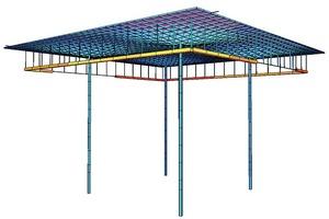Das Tragsystem des Atriumdaches ist ein gleichmäßig angeordneter, in zwei Achsen abgetragener Rost mit einem Rastermaß von 1,58m