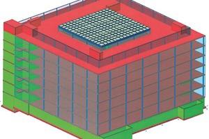 Bild 14 c: Berechnungsmodell Statik des Multifunktionsgebäudes ThyssenKrupp Aufzugswerke