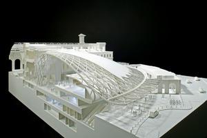 Modell, geschnitten:Um den Bau der Western-Concourse Halle zu ermöglichen, mussten die Fachplaner<br />große Schwierigkeiten überwinden, u.a. gabe es kaum mehr Platz für Fundamente