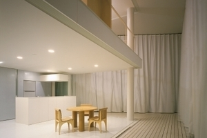 Curtain Wall House, 1995, Tokyo, Japa, mit geschlossenem Vorhang