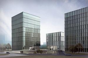 """Parametrische Fassade beim Bürogebäude """"Caohejing 3 Cubes"""" in Shanghai"""