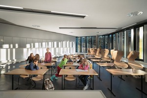 Die großzügige Verglasung der Klassenzimmer reduziert den Kunstlichtanteil auf ein Minimum