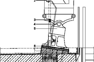 Detail QuerschnittFußpunkt Binder, M 1: 331/3Legende Fußpunkt Binder_quer<br /><br /><br />1Binder, Historisch<br />2Erdungslasche<br />3Zugstabsystem zur Aussteifung der  historischen Konstruktion<br />4Lagerachse historische Bindefuß<br />5Lager Gusseisenteil historische Konstruktion<br />6Niro-Haube zur Einbindung Binderfuß<br /> in Bauwerksabdichtung<br />7Verguss