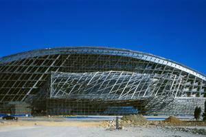 """Das Strukturkonzept basiert auf einer """"Sandwich-struktur"""" welche aus zwei Elementen besteht: dem Tisch und dem DachBeide Elemente sind Raumfachwerke aus Stahl mit einer Rahmenhöhe von 5-8m. Die gesamte Struktur befindet sich 7m über dem Boden und wird durch 14 vertikale Kerne aus Beton-Stahl-Komposit unterstützt"""