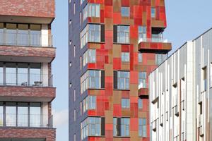Links Blauraum Architekten, rechts Erick van Egeraat, dazwischen Bolles Wilson im Überseequartier