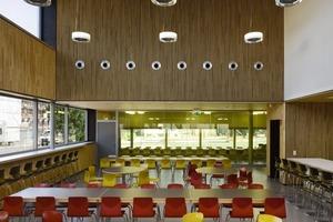 """<div class=""""13.6 Bildunterschrift"""">Im Hauptspeisessaal gibt es Sitzplätze mit unterschiedlichen Qualitäten: Sitzen an runden Tischen, Sitzen auf einem Podest und, bei den Schülern besonders beliebt, die Barhocker am hohenTresen </div>"""