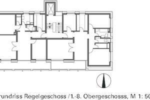 Grundriss Regelgeschoss 1-8, M 1:500