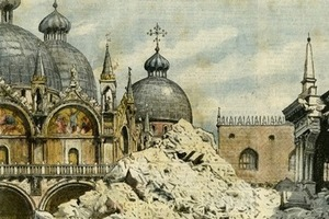 Eingestürzter Campanile, Markusplatz, Venedig La Domenica del Corriere, 27. Juli 1902
