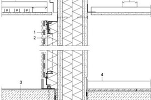 <p>1Vorsatzschale,<br />Beplankung akustisch absorbierte Schlitzplatten<br />auf Systemkonstruktion verklebt,<br />Oberfläche mit DD Lacksystem lackiert,<br />2Mineralwolle zur Schallabsorption<br />3Bodenaufbau:<br />Teppichboden<br />Zementestrich<br />PE-Trennfolie<br />Trittschalldämmung<br />Ausgleichsschicht<br />4Aluminium Sockelleiste</p>