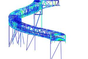 """Bei dieser Brücke scheinen die Diagonalen zwischen Ober-und Untergurten willkürlich platziert, sie folgen jedoch dem optimalen Kraftfluss. Dieser wurde mit Hilfe von """"GENTs"""", welches eine automatische Berechnung und Analyse ermöglicht, so konnte Länge, position und Verteilung der quadratischen 120-140mm dicken Hohlprofile ermittelt werden.<br />Die Diagonalen befinden sich nicht nur an den Seiten, sondern auch auf der Ober-und Unterseite der Brücke<br />"""