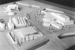 Planungsmodell Hans Scharoun. HIer gut zu sehen sein Vorschlag für das dann nicht realiiserte Gästehaus, das dort stehen sollte, wo heute für ein Museum des 20. Jahrhunderts geplant wird