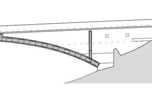 Schnitt AA Schaufelschluchtbrücke, M 1 : 1000