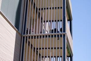 Die Balkone befinden sich an den beiden Kopfenden des Gebäudes<br />