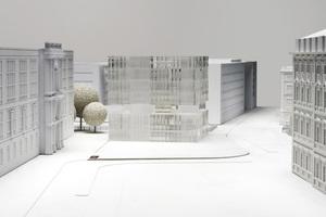 Der erstplatzierte Entwurf von Schweger Partner Architekten, Hamburg, Modell (Ostansicht)<br />