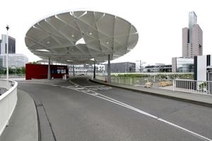 Sonderpreis des BMUB für nachhaltige Stahlarchitektur für das Ovaldach am Tor Nord der Messe Frankfurt a. M. (Architekt: Ingo Schrader; Ingenieure: Bollinger & Grohmann)