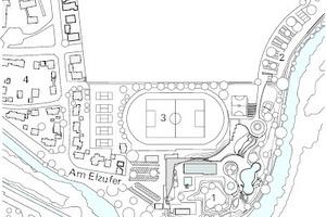 Lageplan, M 1:7500<p>1Neues Freibad<br />2Neue Parkplatzflächen<br />3Sportgelände<br />4Wohngebiet<br />5Fluß Elz</p>