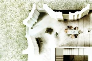 In dem Entwurf fungieren die multitaskingfähigen Außenwandelemente als Tragelement, Raumbegrenzung, Wärmedämmung und mittels Bauteilaktivierung auch als Träger eines Heiz- und Kühlsystems