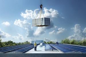 Die Dachflächen der Bürogebäude wurden mit Aufdach-Photovoltaik-Modulen ausgestattet, die doppelt geneigt sind – 15° in südöstlicher bzw. 10° nordwestlicher Richtung. Es handelt sich um 464 Stück hoch effizienter monocristalliner SunPower Module mit 333 W<sub>p</sub> auf einer Gesamtfläche von 756 m². Sie werden im Jahr 115 000 kWh Strom liefern.