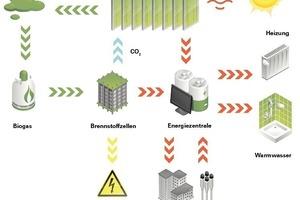 Der Energiekreislauf der Bioreaktoren gewinnt aus Biomasse und Co<sub>s</sub> Strom- und Wärmeenergie<br />