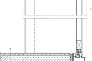 <p>1Vorsatzschale, </p><p>rückseitig emailliertes </p><p>Glassystemelement </p><p>mit Siebdruck, ESG, reversibel,</p><p>2Unterkonstruktion Glasvorsatzschale</p><p>3Toleranzbereich</p><p>4Fuge zwischen Vorsatzschale und </p><p>Edelstahlzarge</p><p>5Portalrahmen:</p><p>Edelstahl Feinschliff, </p><p>scharfkantig gekantet, </p><p>Blech vor Glasebene</p><p>6Bodenaufbau:</p><p>Feinsteinzeugfliese im Dünnbett,<br />Zementestrich mit Fußbodenheizung,<br />EPS Heizelement mit Heizregister,<br />PE-Trennfolie,<br />Trittschalldämmung,<br />Ausgleichsschicht,<br />7Aufzugstür, zentral schließend,<br />Edelstahl Feinschliff</p>