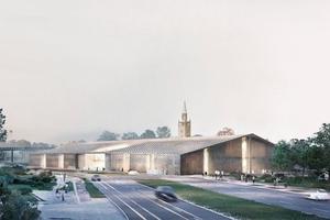 Rendering des Museumneubaus. Links die Nationalgalerie, im Hintergrund die Matthäuskirche