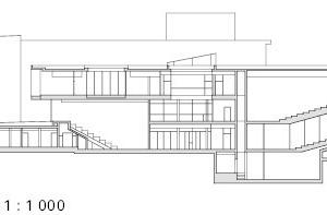 Schnitt CC, Hörsaalgebäude, M 1:1000