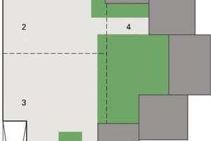 Bild 6: Lageplan mit Darstellung der Baukörper, des Parkdecks, der Grünflächen und der Dehnfugen<br />