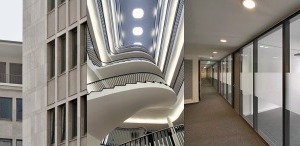 Harmonisches Ganzes: Technisches Dienstleistungszentrum, Bielefeld. Links das Atrium mit Treppe, Fassadenansichten, Flur Neubau und neuer Haupteingang