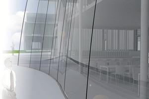 Fassade mit kaltgekrümmten Glas: ITKE Thiemo<br />