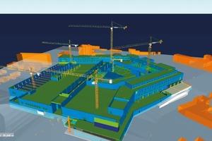 Im Rahmen des Building Information Modeling wurde mit unterschiedlichen Programmen gearbeitet. Die Fassade entstand mit Tekla Structures (blau), die Baustelleninfrastruktur, wie die Kräne, wurden mit Siemens NX angelegt