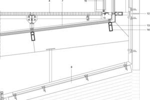Vertikalschnitt Knickpunkt Patiodach/Fassade, M 1:25<br />