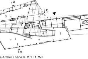 Grundriss Archiv, Ebene +0, M 1:1750<br />