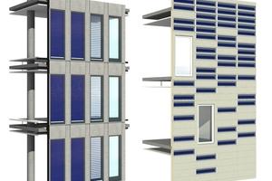 Visualisierung einer Fassade mit solarthermischer Jalousie und mit Streifenkollektoren