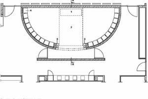 Legende Grundriss Raum der Stille<br /> 1 Plexiglaselement<br />2 Luftraum<br />3 Marmorblock mit Wasserbecken<br />4 Elektrokanal