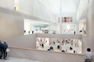 Blick in den zentralen Kreuzungspunkt. Kunst auf drei Ebenen soll päsentiert werden, Tageslicht kommt über das Dach. Der Entwurf werde, so Jacques Herzog, noch mit den Ausstellungschefs diskutiert und angepasst