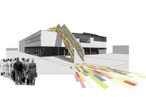 Shortcut - temporärer Zugang zur Dachterrasse des Aalto-Kulturhauses in Wolfsburg
