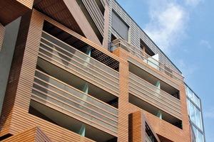 Die HPL-Fassadenpaneele von Fundermax strukturieren die Fassadenansichten des Studentenwohnheims zur Straße hin