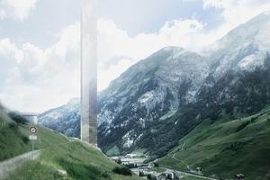 Gläserne Nadel im Tal ... Hotelerweiterung oder Thermennachbar? 380 m hoch, eine Vision von Morphosis und Remo Stoffel