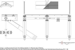 Längs-und Querschnitt durch die Gitterrostbahn im Bereich der V-Stütze, M 1:50