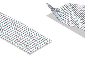 links: Abwicklung mit formbedingtem Sonderzuschnitt, rechts: Freiform mit doppelter Krümmung