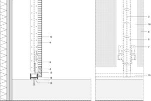 Detail Fußpunkt EG, Akustikbekleidung, M 1:5