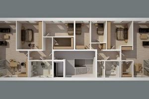 """Linke Seite altengerecht, rechte Seite (symmetrisch, gleicher Umfang) als Familienwohnung. Beide Wohnungen sind altersgerecht und """"austauschbar""""."""